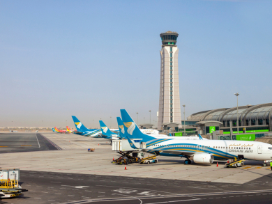 Muscat international is in the top 10 most connected airports in the Middle East